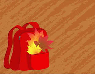 School satchel with autumn leaves