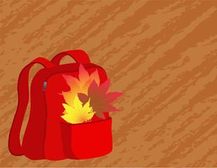 School satchel with autumn leaves