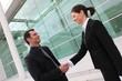 Homme et femme d'affaires se serrant la main