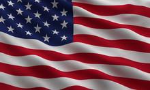 """Постер, картина, фотообои """"Flag of the USA with highly detailed fabric texture"""""""