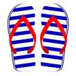 flip flop blue and white color vector illustration