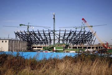 London Olympic Stadium under construction.