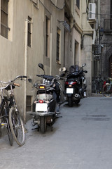 Motorcycles in the street of Spain