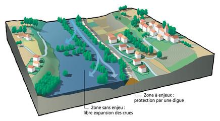 Inondations - Digue et espace d'expansion des crues