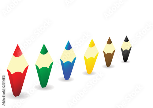 Multi-coloured wooden pencils rowed