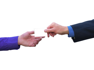 Businessman handing over blank business card on white