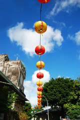 Paper Lanterns hang in Taiwan, to mark the way to temple