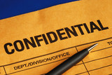 Pen on the confidential envelope isolated on blue poster