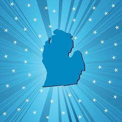 Blue Michigan map