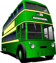 Eps 10 Vintage green bus illustration, isolated on white. Vector