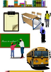 Back to school. School equipment. Vector