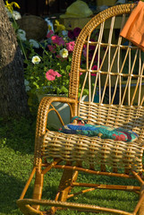 wicker chair in the garden