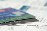 close-up of credit cards on bank invoice poster