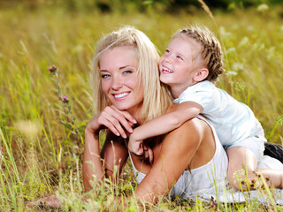 Happiness of the  mother and daughter