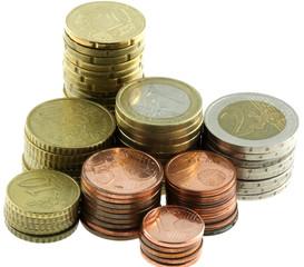 lot complet de pièces euro, fond blanc