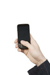 Businessman Hand Holding Mobile Phone.Isolated