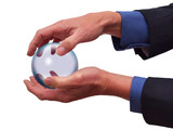 Businessman with hands around glas sphere on white poster