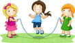 Children Playing Jumping Rope In The Park
