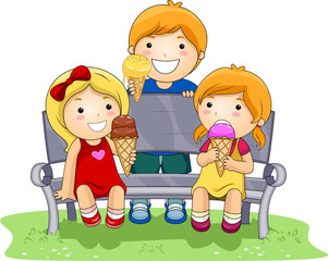 Children Eating Ice Cream In The Park