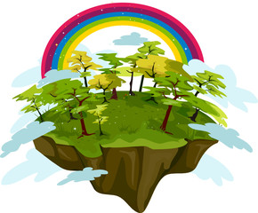 Floating Island With Rainbow