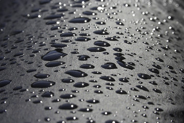 Water Droplets on a Black Surface