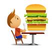 Men going to eat very big hamburger