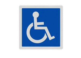 Photo realistic 'disabled' sign, isolated on white