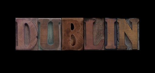 the word Dublin in old letterpress wood type