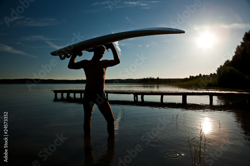 Fotobehang Water Motorsp. After windsurfing