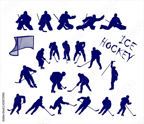 Vector silhouettes of ice hockey players and goalkeepers