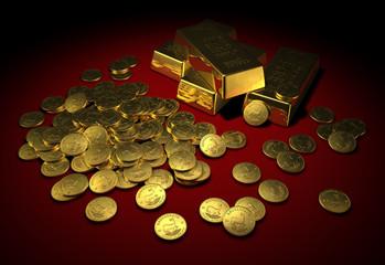 Goldbarren & Goldmünzen auf rotem Samt