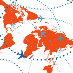 Colorful airline planes travel flights air traffic