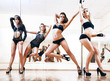 Quadro Four young sexy pole dance women