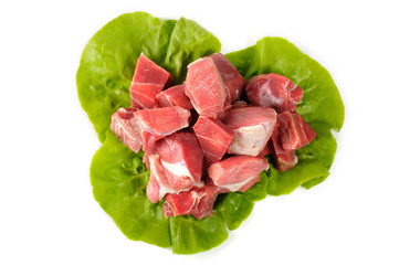 beef with lettuce on a white background
