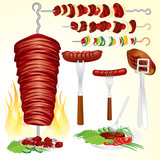 Collection of grilled meat illustrations