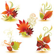 Vector set 2 of leafs design elements. Thanksgiving