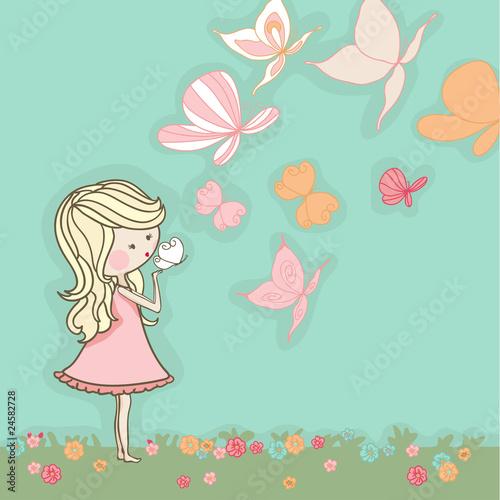 Fototapeta girl blowing butterflies