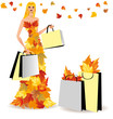 Shopping fachion girl with bags, vector