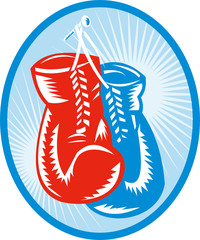 red and blue boxing gloves with sunburst