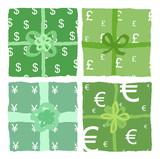 Pacchi regalo con simboli di monete dal mondo poster