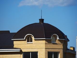 Roof of the house with a tower