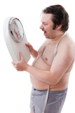 Overweight man with a weight scale poster