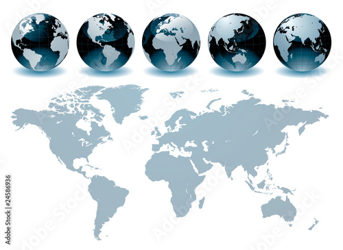In de dag Wereldkaart World Globe