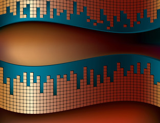 curvy background with mosaic pattern