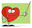 Heart Cartoon Character Holding A Pointer