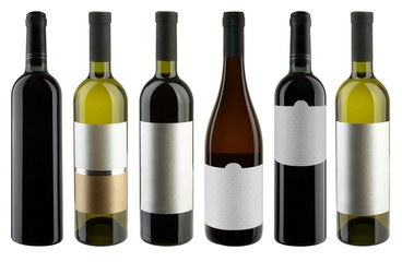 Set of Bottles Red and White wine on white + clipping path. High