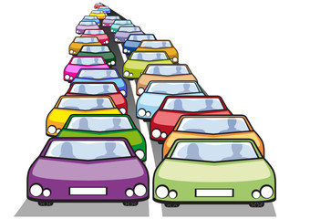 Doppia fila di auto in coda