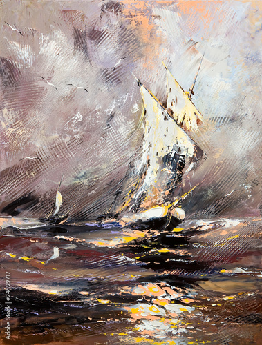 Obraz w ramie Sailing vessel in a stormy sea