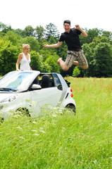 Sprung vom Auto