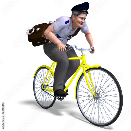 postman on a bike. 3D rendering with clipping path and shadow ov